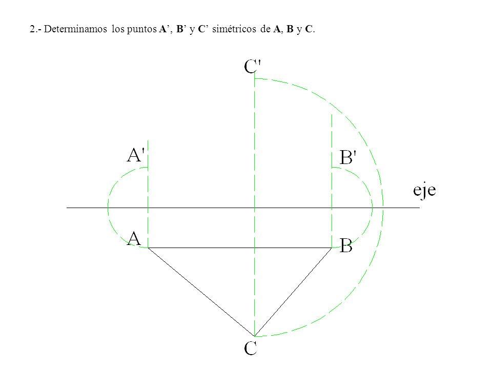 2.- Determinamos los puntos A', B' y C' simétricos de A, B y C.
