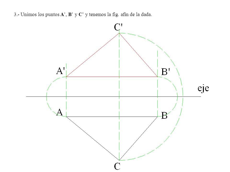 3.- Unimos los puntos A', B' y C' y tenemos la fig. afín de la dada.