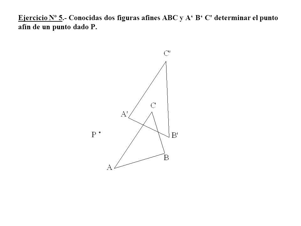 Ejercicio Nº 5.- Conocidas dos figuras afines ABC y A' B' C determinar el punto afín de un punto dado P.