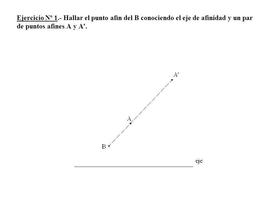 Ejercicio Nº 1.- Hallar el punto afín del B conociendo el eje de afinidad y un par de puntos afines A y A .
