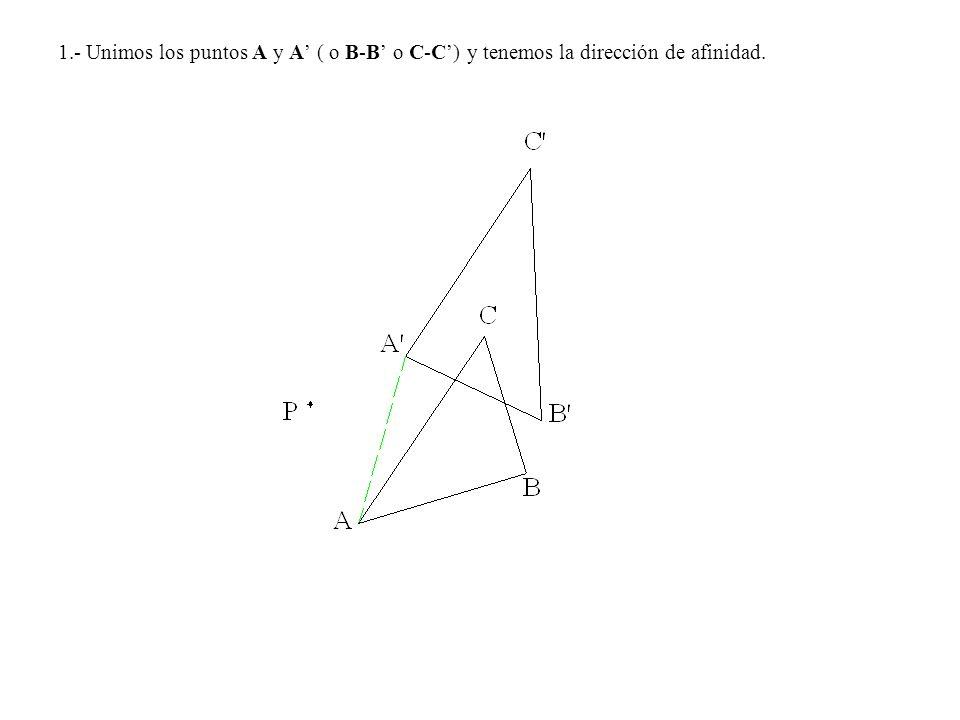 1.- Unimos los puntos A y A' ( o B-B' o C-C') y tenemos la dirección de afinidad.