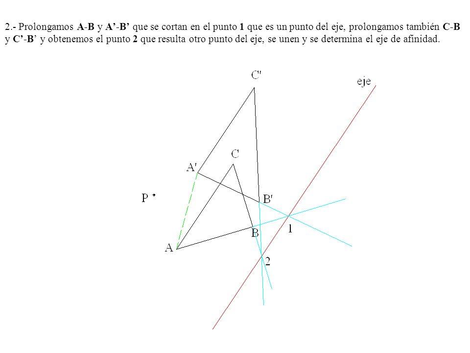 2.- Prolongamos A-B y A'-B' que se cortan en el punto 1 que es un punto del eje, prolongamos también C-B y C'-B' y obtenemos el punto 2 que resulta otro punto del eje, se unen y se determina el eje de afinidad.