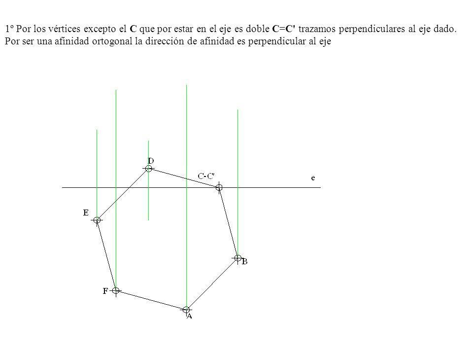 1º Por los vértices excepto el C que por estar en el eje es doble C=C trazamos perpendiculares al eje dado.