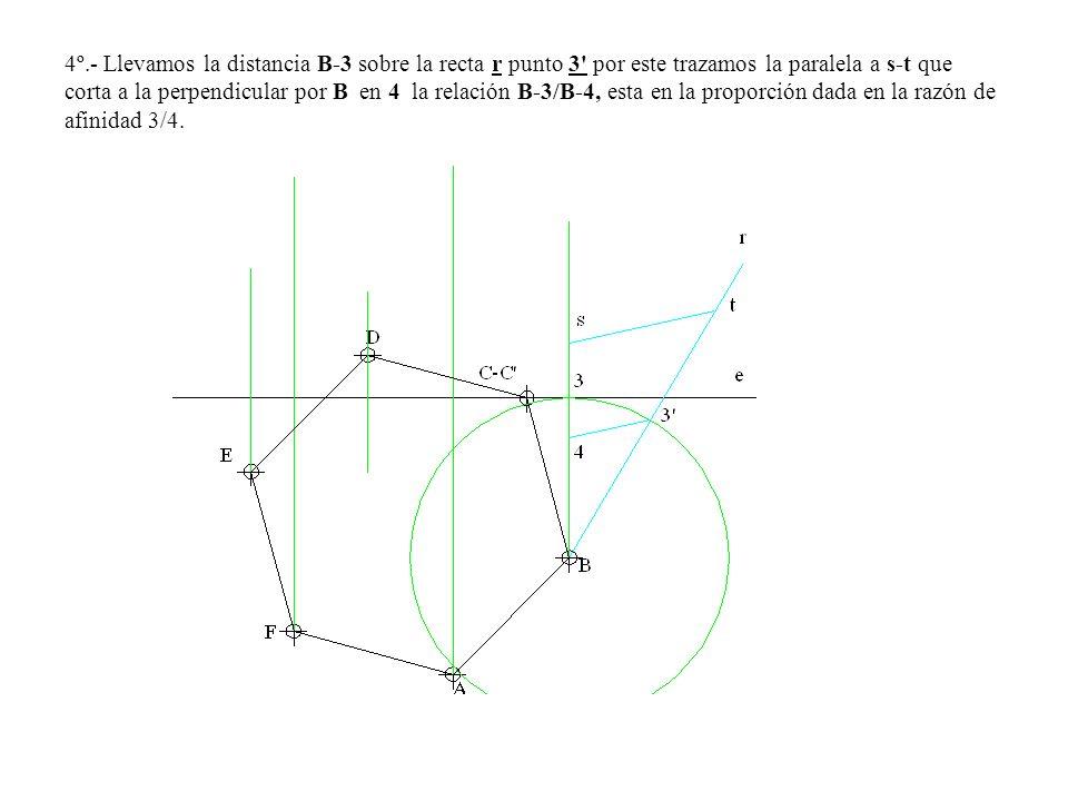 4º.- Llevamos la distancia B-3 sobre la recta r punto 3 por este trazamos la paralela a s-t que corta a la perpendicular por B en 4 la relación B-3/B-4, esta en la proporción dada en la razón de afinidad 3/4.