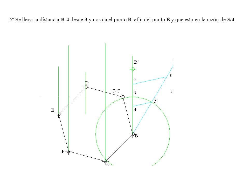 5º Se lleva la distancia B-4 desde 3 y nos da el punto B afín del punto B y que esta en la razón de 3/4.