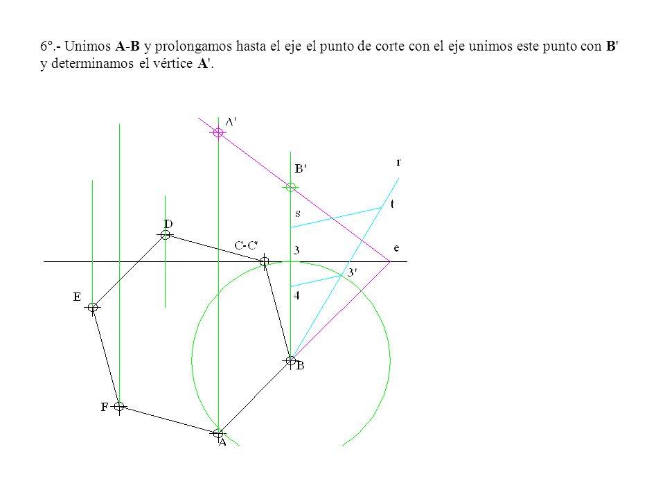 6º.- Unimos A-B y prolongamos hasta el eje el punto de corte con el eje unimos este punto con B y determinamos el vértice A .