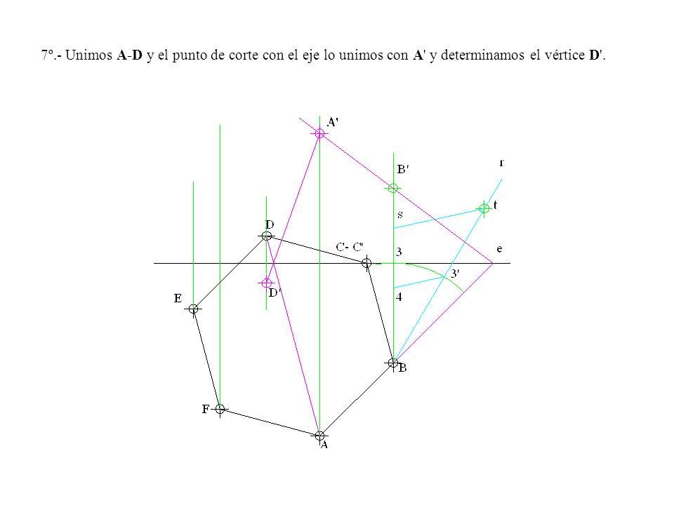 7º.- Unimos A-D y el punto de corte con el eje lo unimos con A y determinamos el vértice D .