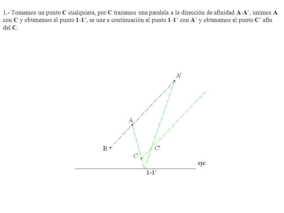 1.- Tomamos un punto C cualquiera, por C trazamos una paralela a la dirección de afinidad A-A', unimos A con C y obtenemos el punto 1-1', se une a continuación el punto 1-1' con A' y obtenemos el punto C' afín del C.