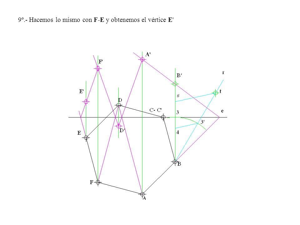 9º.- Hacemos lo mismo con F-E y obtenemos el vértice E