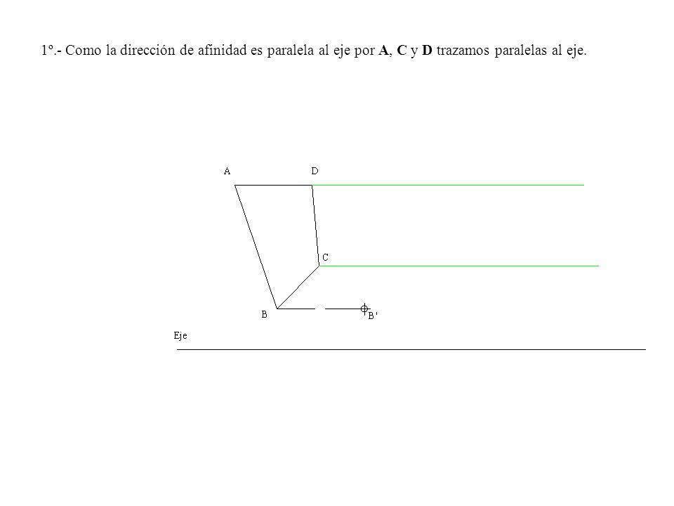 1º.- Como la dirección de afinidad es paralela al eje por A, C y D trazamos paralelas al eje.
