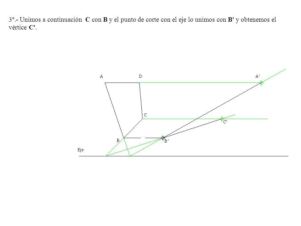 3º.- Unimos a continuación C con B y el punto de corte con el eje lo unimos con B y obtenemos el vértice C .
