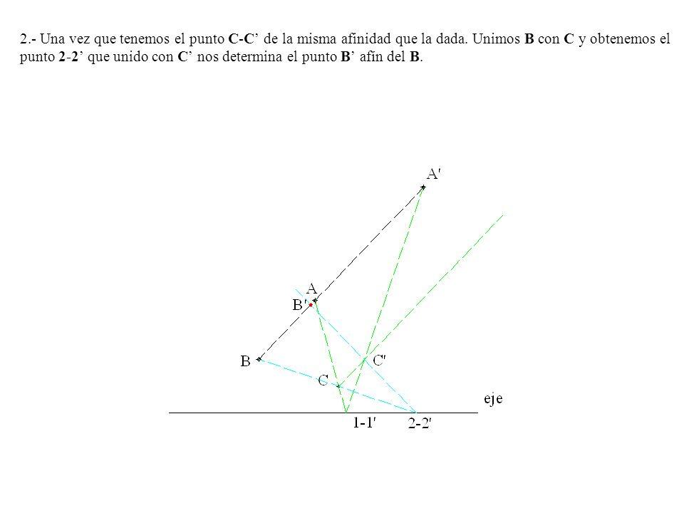 2.- Una vez que tenemos el punto C-C' de la misma afinidad que la dada.