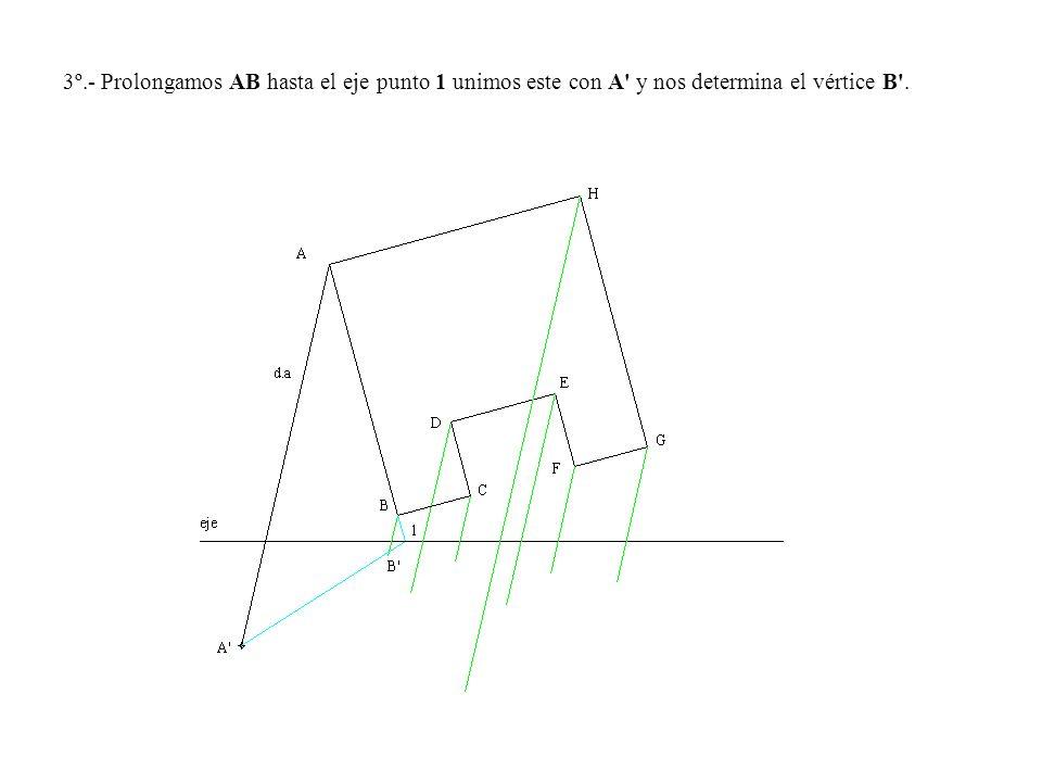 3º.- Prolongamos AB hasta el eje punto 1 unimos este con A y nos determina el vértice B .