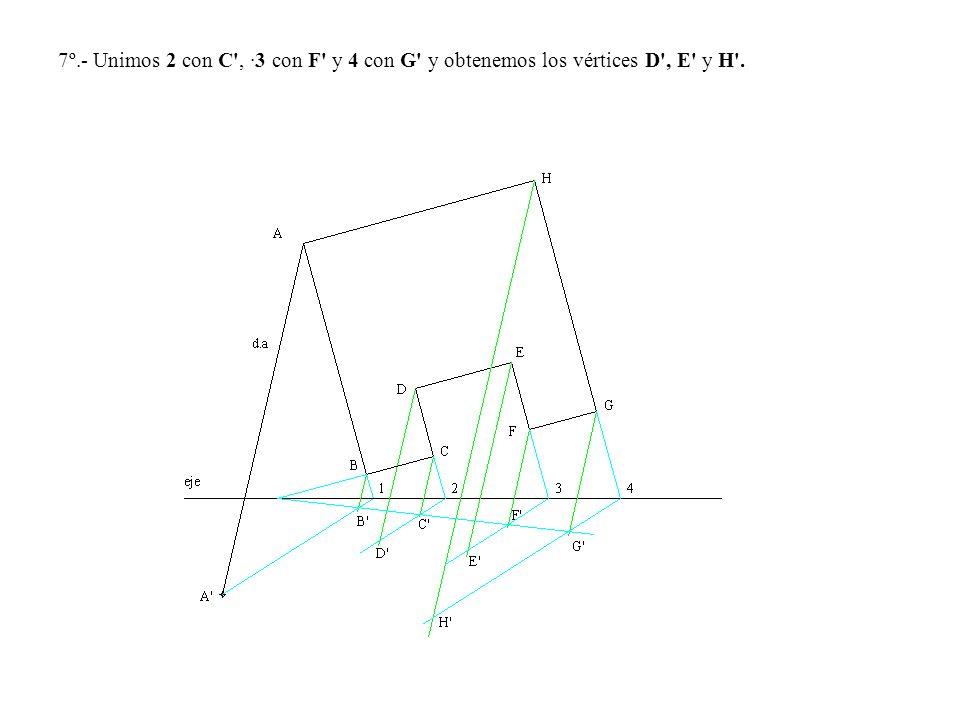 7º.- Unimos 2 con C , ·3 con F y 4 con G y obtenemos los vértices D , E y H .