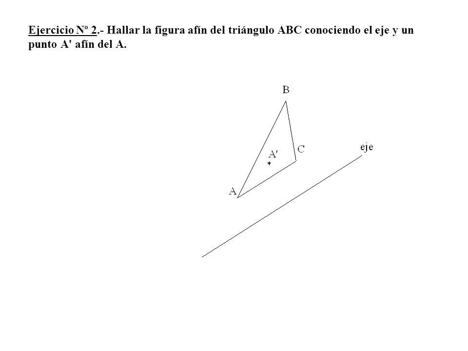 Ejercicio Nº 2.- Hallar la figura afín del triángulo ABC conociendo el eje y un punto A afín del A.