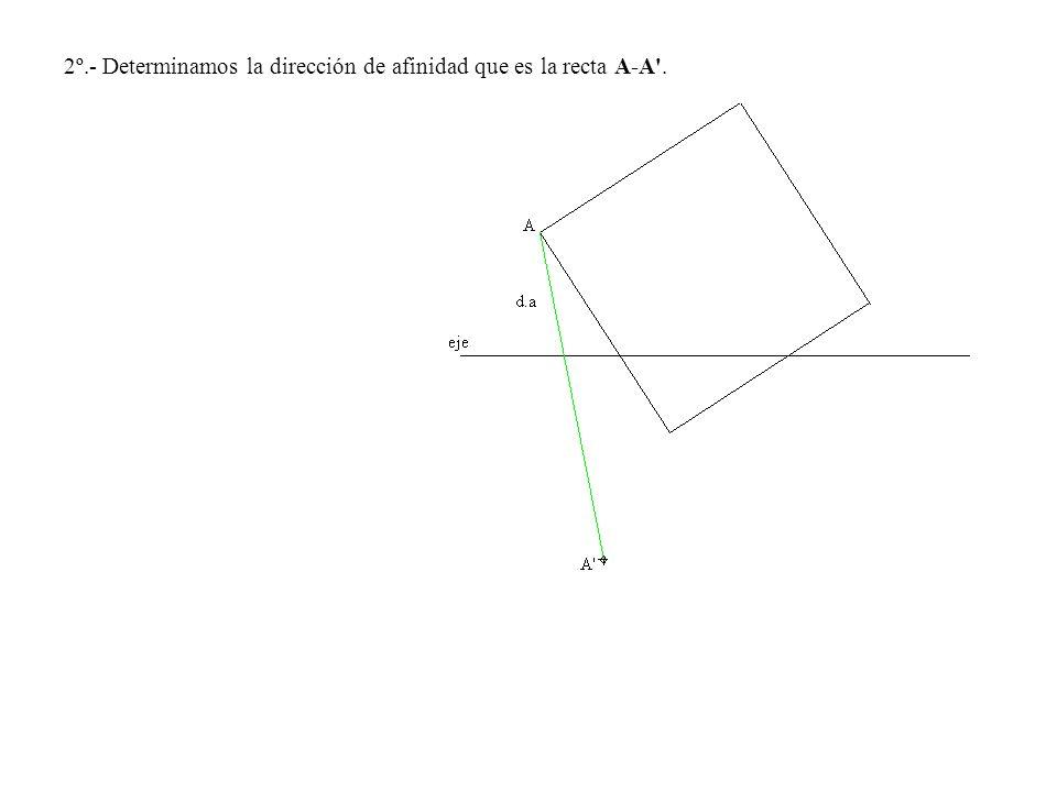 2º.- Determinamos la dirección de afinidad que es la recta A-A .