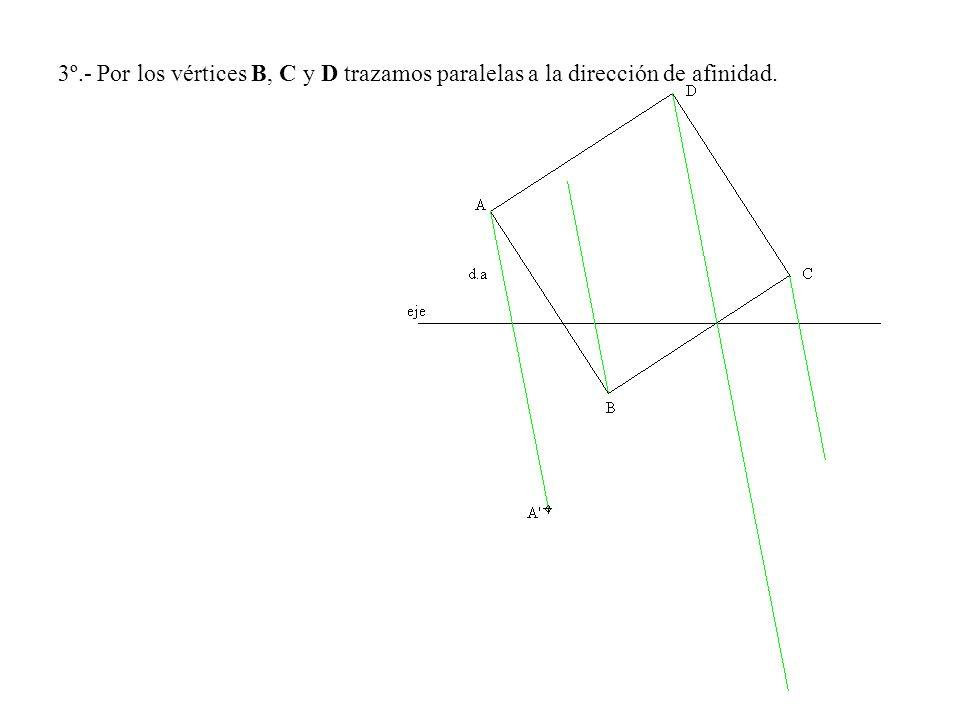 3º.- Por los vértices B, C y D trazamos paralelas a la dirección de afinidad.
