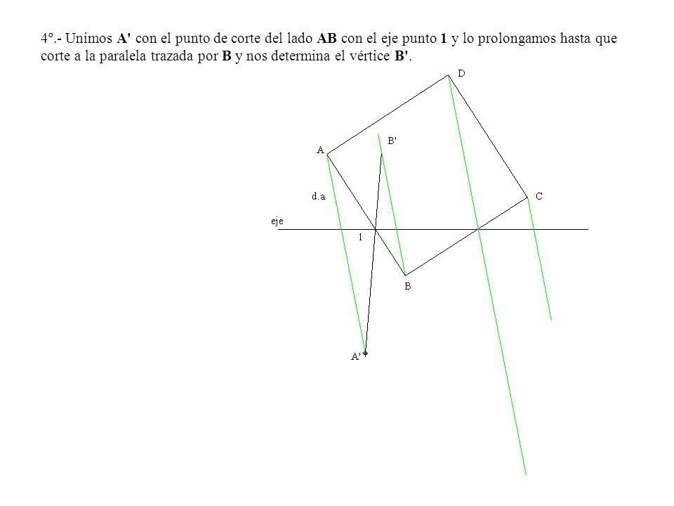 4º.- Unimos A con el punto de corte del lado AB con el eje punto 1 y lo prolongamos hasta que corte a la paralela trazada por B y nos determina el vértice B .