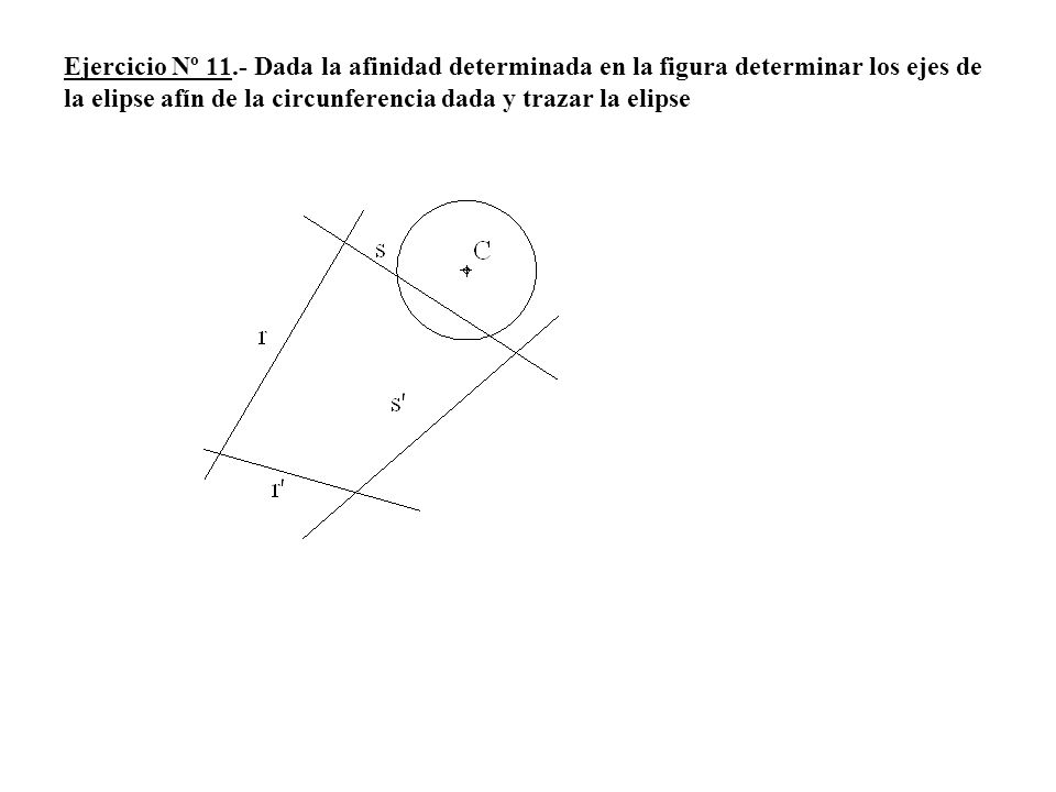 Ejercicio Nº 11.- Dada la afinidad determinada en la figura determinar los ejes de la elipse afín de la circunferencia dada y trazar la elipse