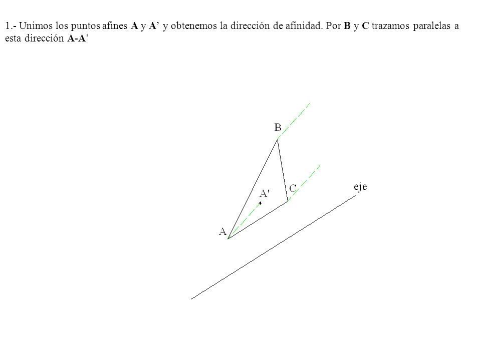 1.- Unimos los puntos afines A y A' y obtenemos la dirección de afinidad.