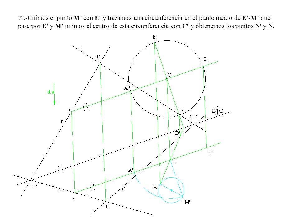 7º.-Unimos el punto M' con E y trazamos una circunferencia en el punto medio de E -M' que pase por E y M' unimos el centro de esta circunferencia con C y obtenemos los puntos N y N.