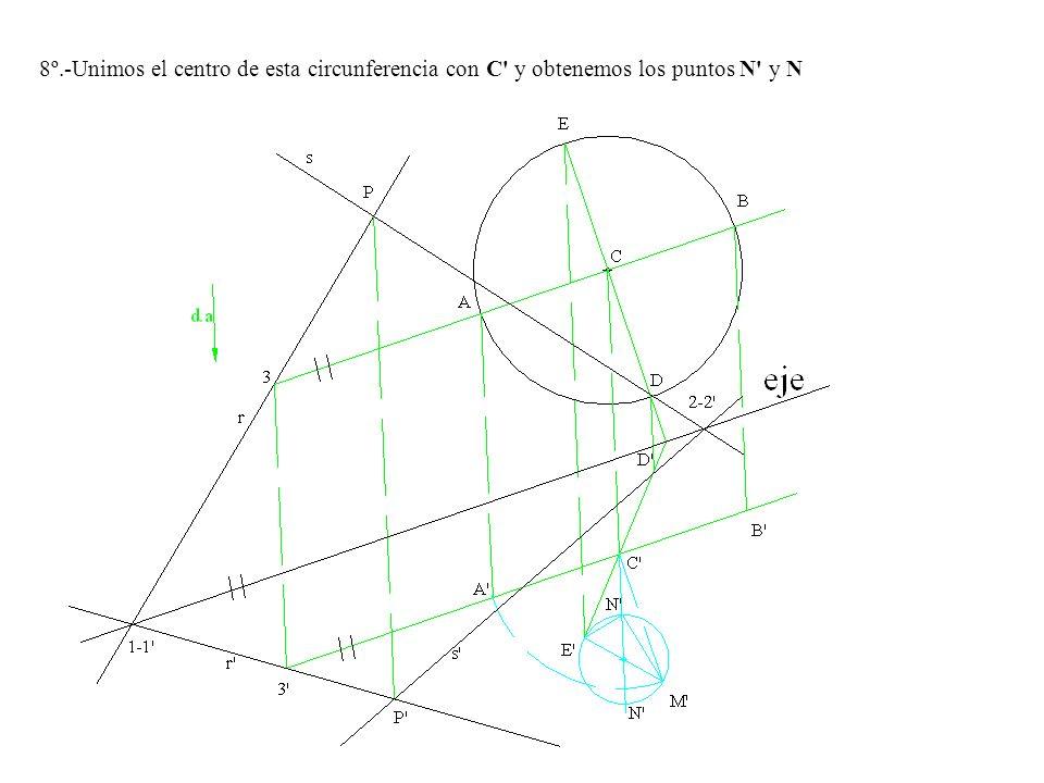 8º.-Unimos el centro de esta circunferencia con C y obtenemos los puntos N y N