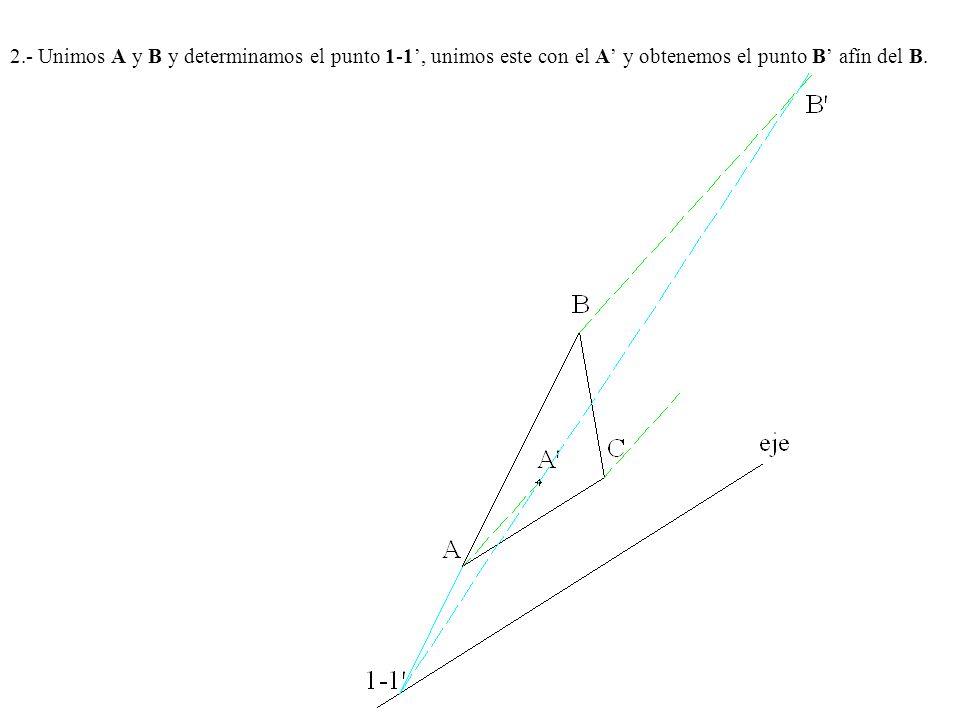 2.- Unimos A y B y determinamos el punto 1-1', unimos este con el A' y obtenemos el punto B' afín del B.