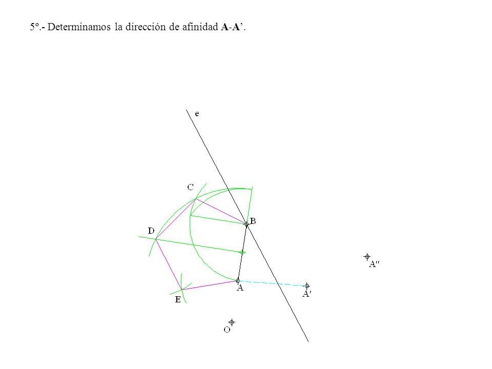 5º.- Determinamos la dirección de afinidad A-A'.
