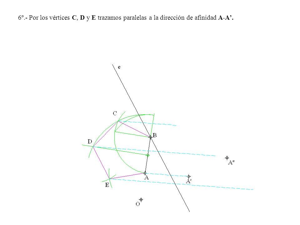 6º.- Por los vértices C, D y E trazamos paralelas a la dirección de afinidad A-A'.