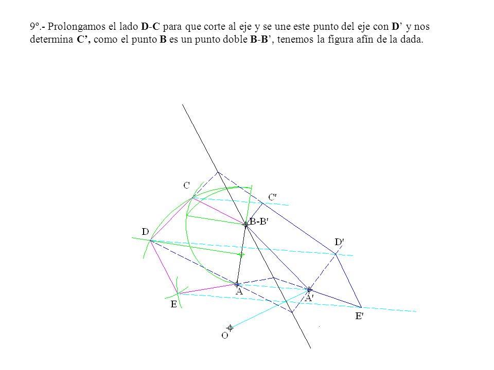 9º.- Prolongamos el lado D-C para que corte al eje y se une este punto del eje con D' y nos determina C', como el punto B es un punto doble B-B', tenemos la figura afín de la dada.