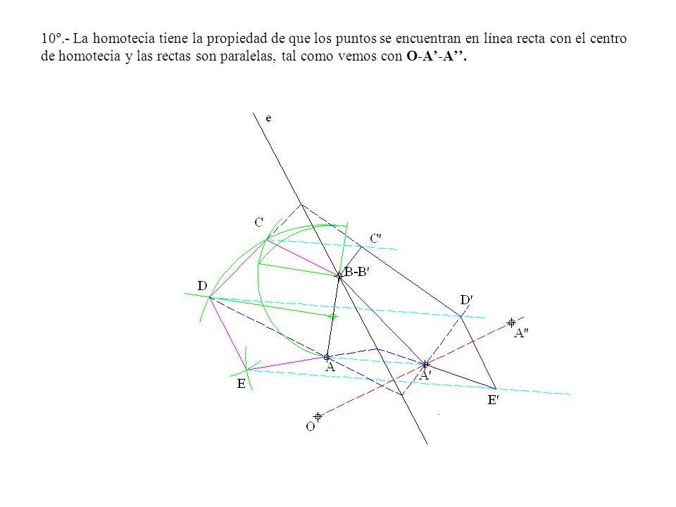 10º.- La homotecia tiene la propiedad de que los puntos se encuentran en línea recta con el centro de homotecia y las rectas son paralelas, tal como vemos con O-A'-A''.