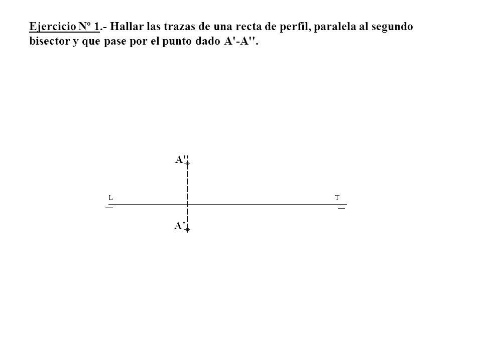 Ejercicio Nº 1.- Hallar las trazas de una recta de perfil, paralela al segundo bisector y que pase por el punto dado A -A .
