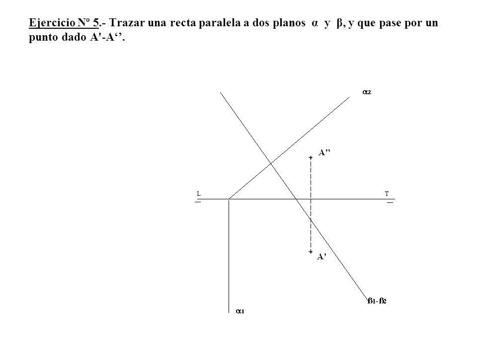 Ejercicio Nº 5.- Trazar una recta paralela a dos planos α y β, y que pase por un punto dado A -A''.