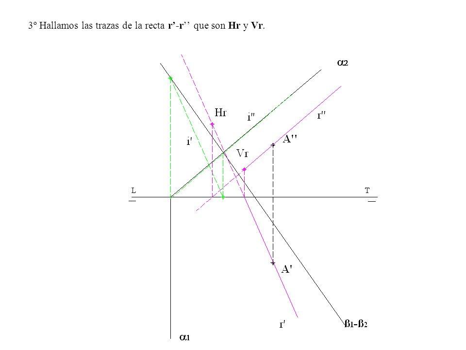 3º Hallamos las trazas de la recta r'-r'' que son Hr y Vr.