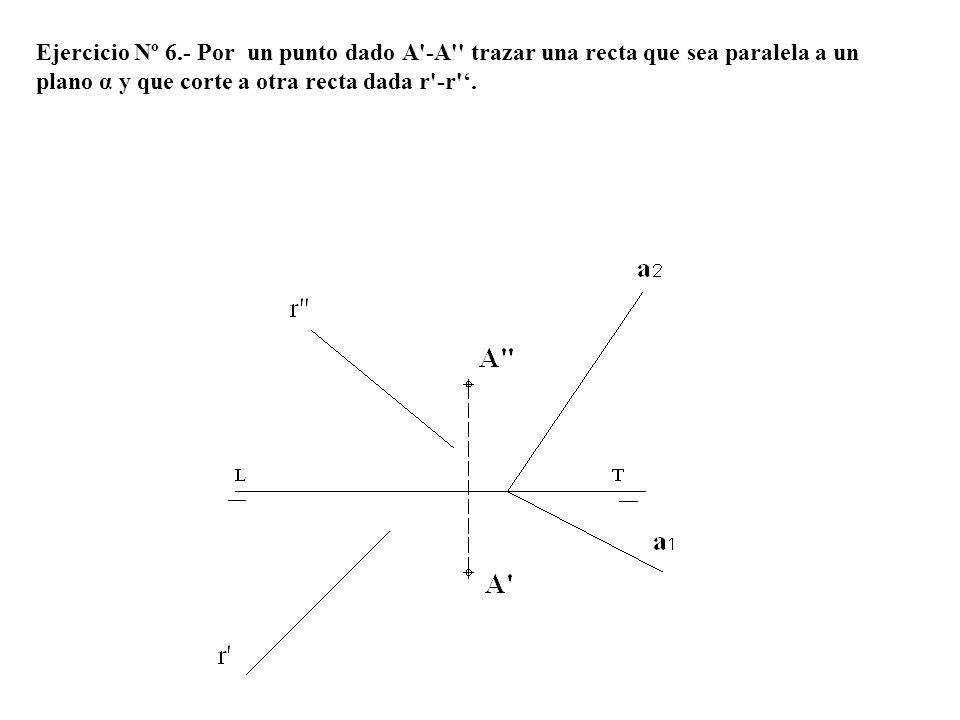 Ejercicio Nº 6.- Por un punto dado A -A trazar una recta que sea paralela a un plano α y que corte a otra recta dada r -r '.