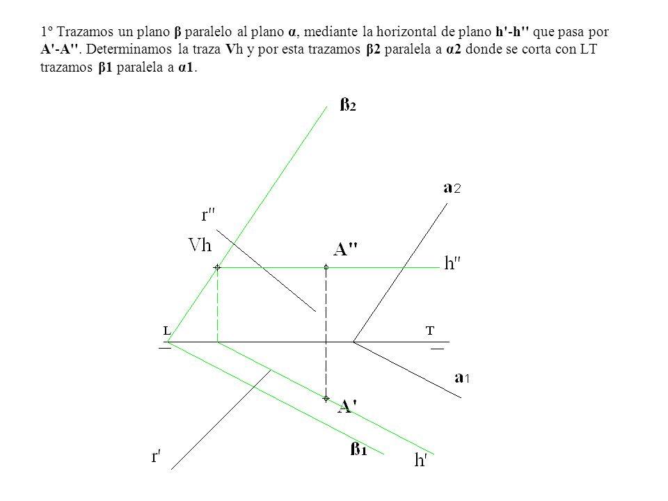 1º Trazamos un plano β paralelo al plano α, mediante la horizontal de plano h -h que pasa por A -A .