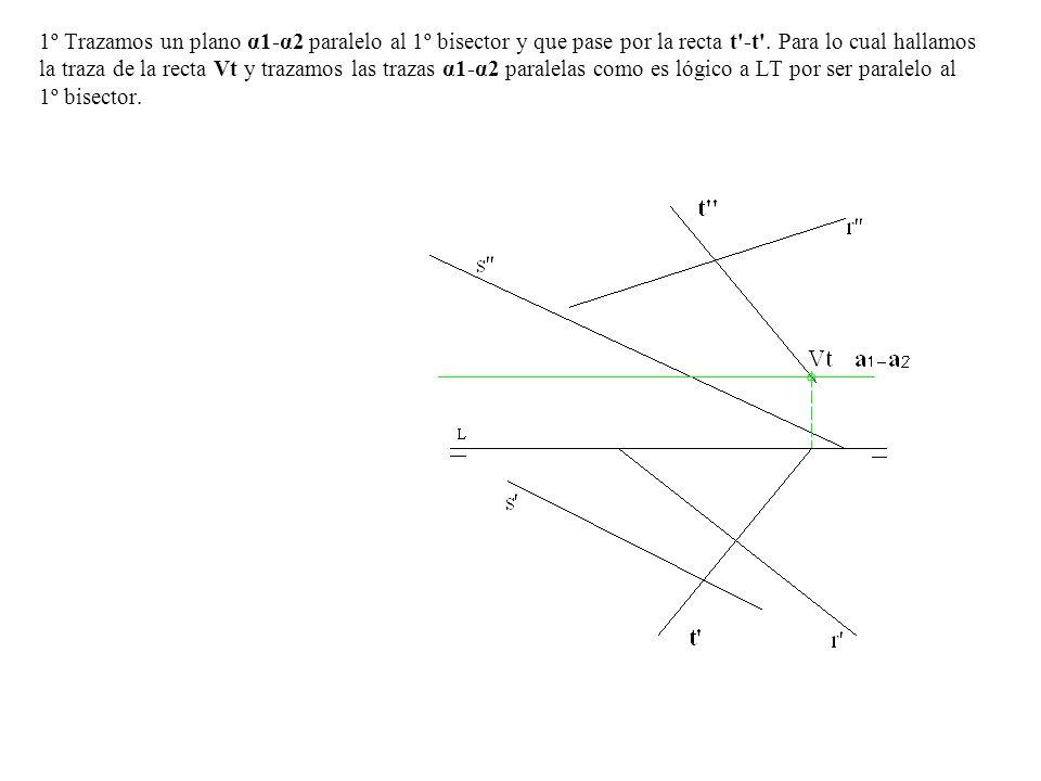 1º Trazamos un plano α1-α2 paralelo al 1º bisector y que pase por la recta t -t .