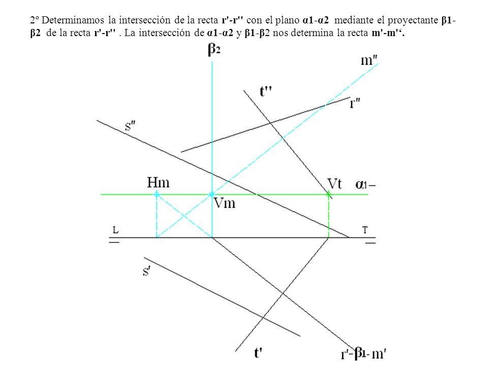 2º Determinamos la intersección de la recta r -r con el plano α1-α2 mediante el proyectante β1-β2 de la recta r -r .