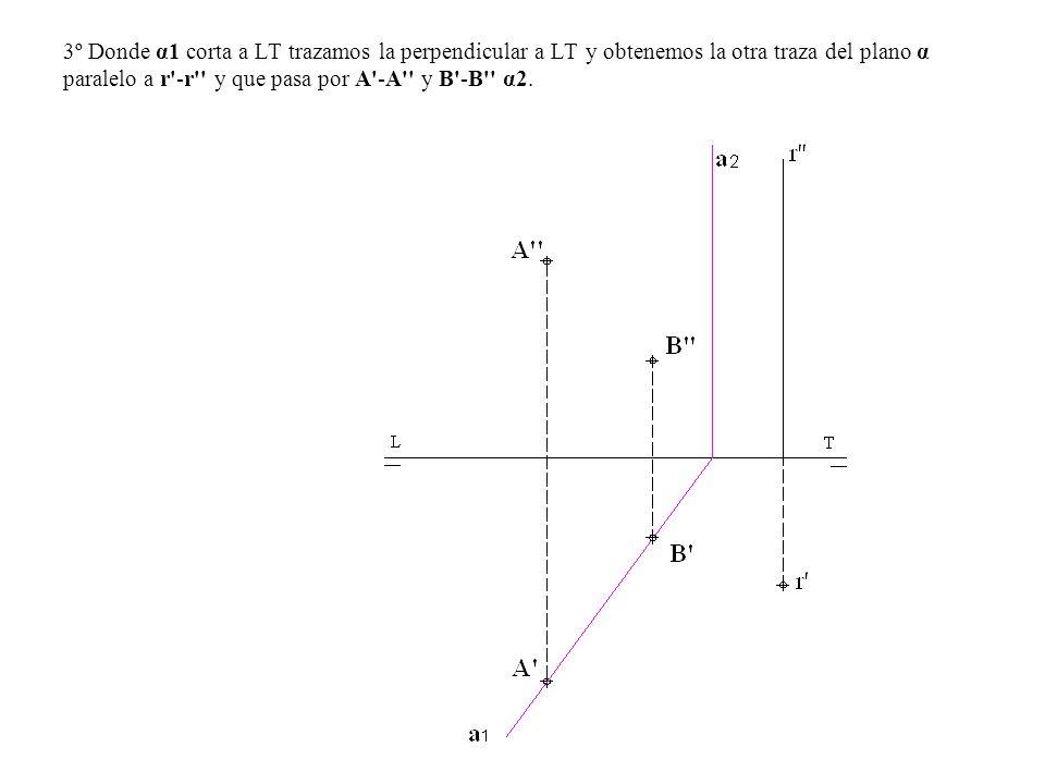 3º Donde α1 corta a LT trazamos la perpendicular a LT y obtenemos la otra traza del plano α paralelo a r -r y que pasa por A -A y B -B α2.
