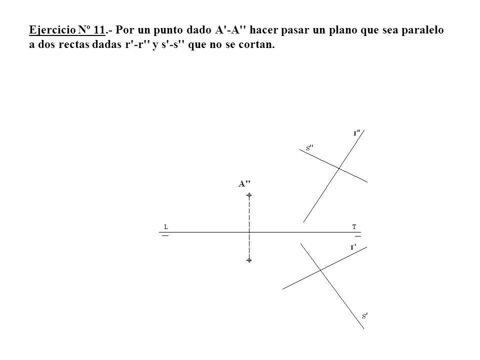 Ejercicio Nº 11.- Por un punto dado A -A hacer pasar un plano que sea paralelo a dos rectas dadas r -r y s -s que no se cortan.