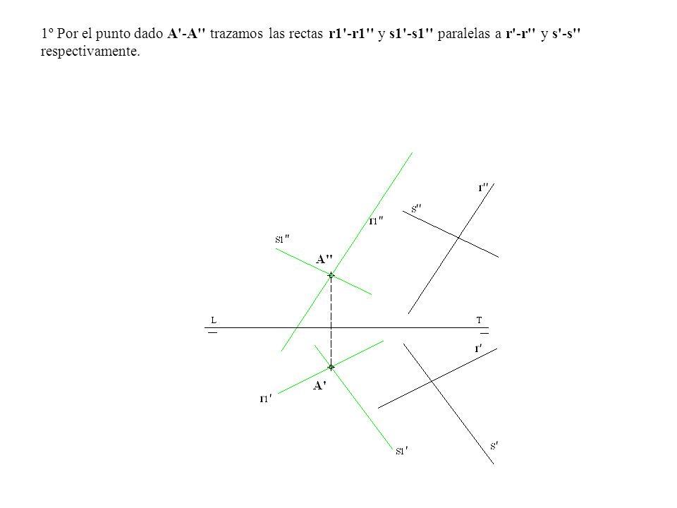 1º Por el punto dado A -A trazamos las rectas r1 -r1 y s1 -s1 paralelas a r -r y s -s respectivamente.