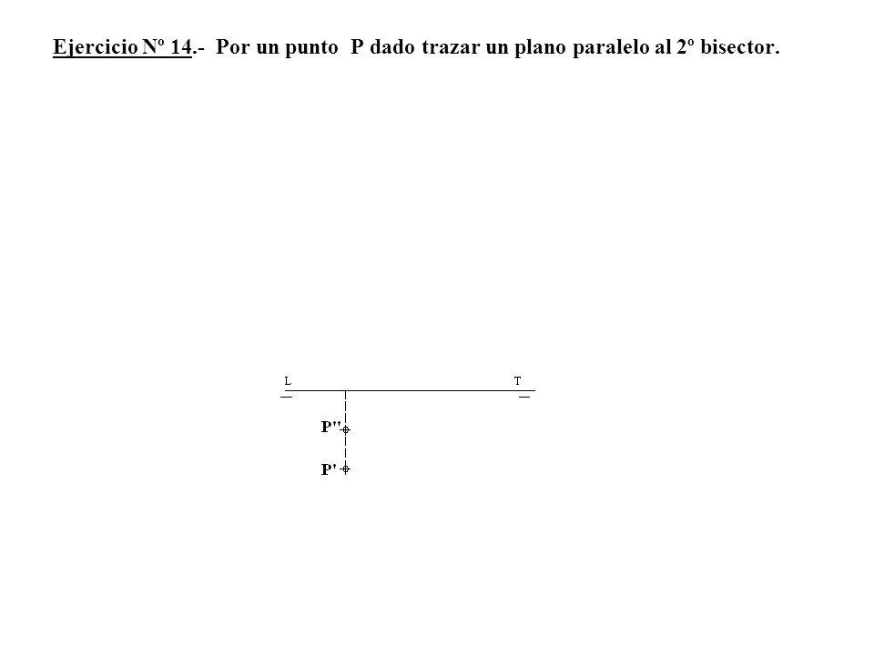 Ejercicio Nº 14.- Por un punto P dado trazar un plano paralelo al 2º bisector.