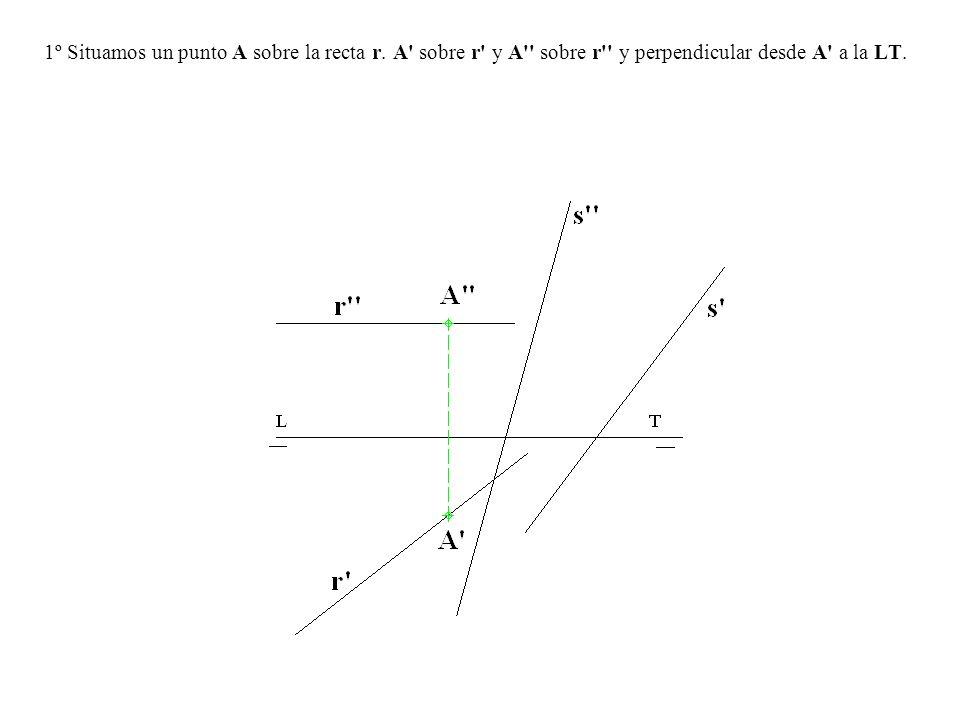 1º Situamos un punto A sobre la recta r