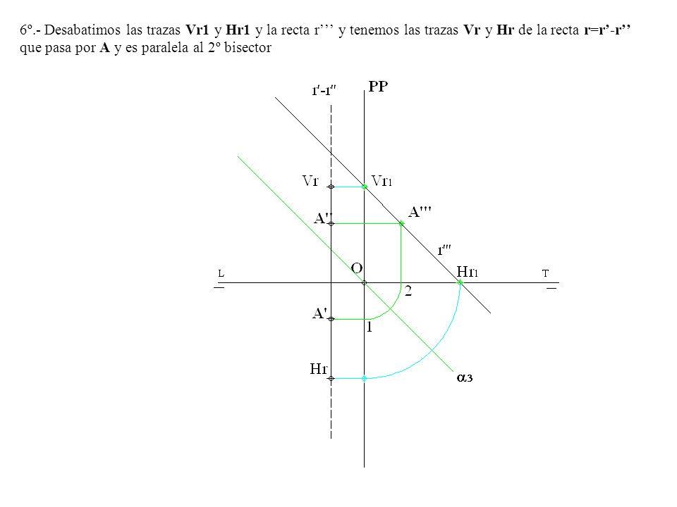 6º.- Desabatimos las trazas Vr1 y Hr1 y la recta r''' y tenemos las trazas Vr y Hr de la recta r=r'-r'' que pasa por A y es paralela al 2º bisector