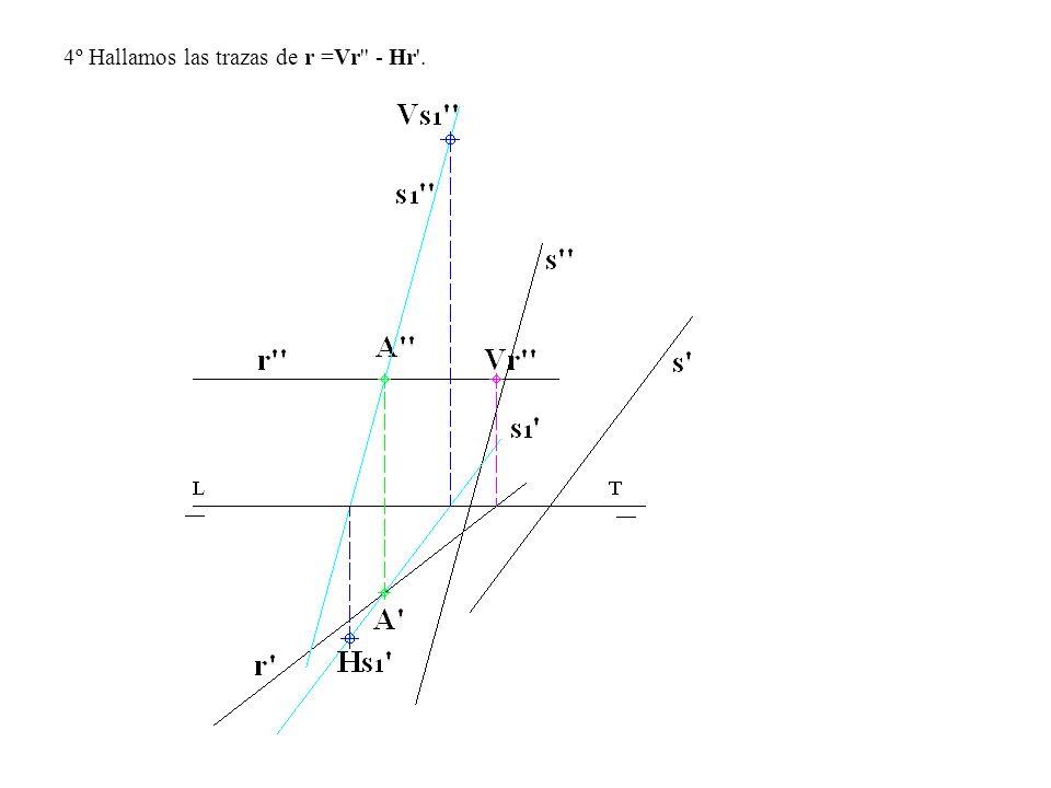 4º Hallamos las trazas de r =Vr - Hr .