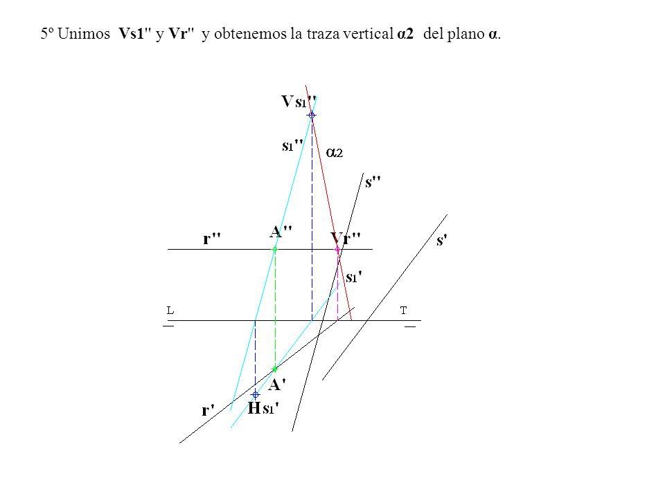 5º Unimos Vs1 y Vr y obtenemos la traza vertical α2 del plano α.