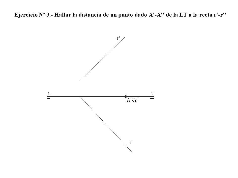 Ejercicio Nº 3.- Hallar la distancia de un punto dado A -A de la LT a la recta r -r