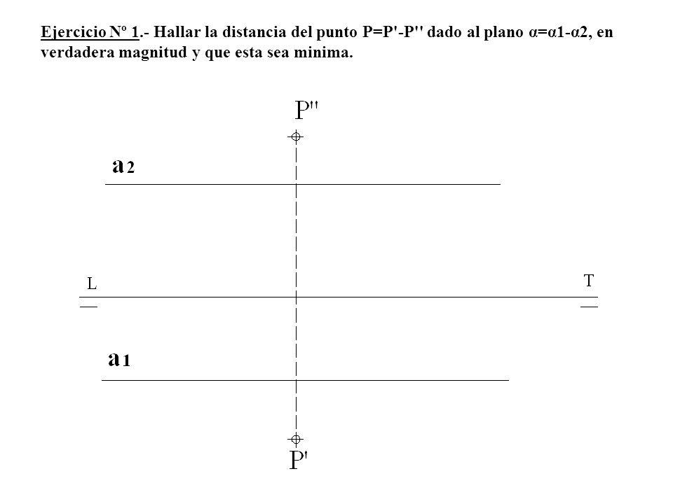 Ejercicio Nº 1.- Hallar la distancia del punto P=P -P dado al plano α=α1-α2, en verdadera magnitud y que esta sea minima.