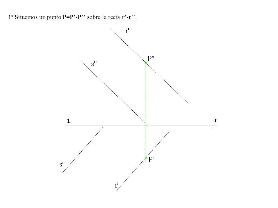 1º Situamos un punto P=P'-P'' sobre la recta r'-r''.