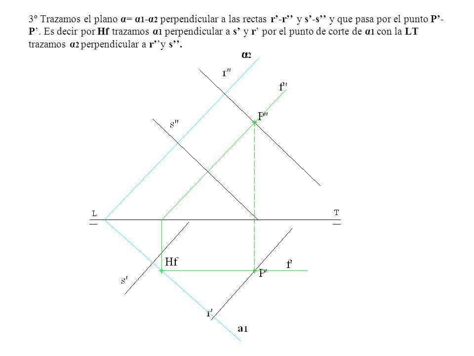 3º Trazamos el plano α= α1-α2 perpendicular a las rectas r'-r'' y s'-s'' y que pasa por el punto P'-P'.